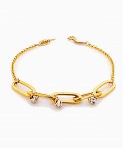 دستبند طلا 18 عیار زنانه مدل زنجیر درشت گوی دار کد BL0330