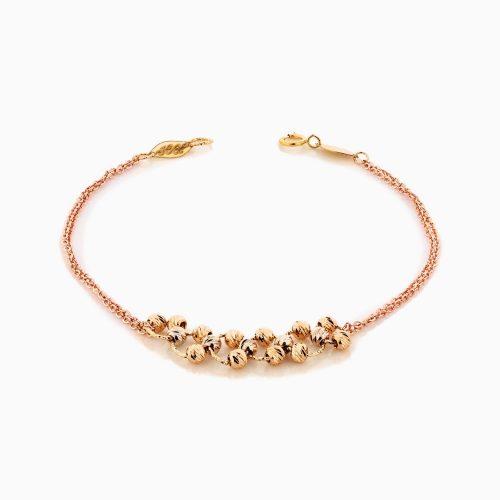 دستبند طلا 18 عیار زنانه زنجیری مدل گوی و حلقه کد BL0331