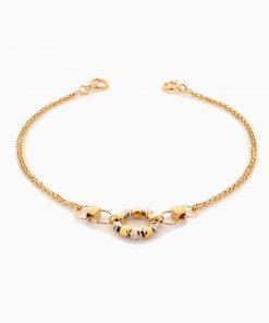 دستبند طلا 18 عیار زنانه زنجیری مدل گوی وحلقه کد BL0332