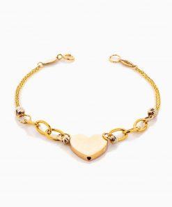 دستبند طلا 18 عیار زنانه زنجیری مدل قلب کد BL0338