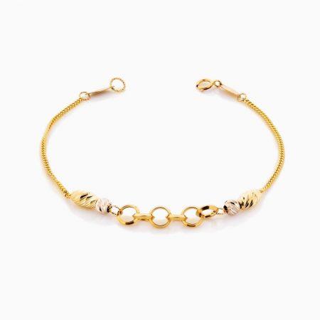 دستبند طلا 18 عیار زنانه زنجیری مدل المپیک کد BL0339