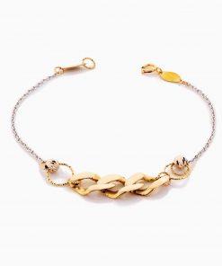 دستبند طلا 18 عیار زنانه زنجیری مدل کارتیر درشت کد BL0341