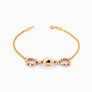دستبند طلا 18 عیار زنانه زنجیری مدل طرح هندسی کد BL0343