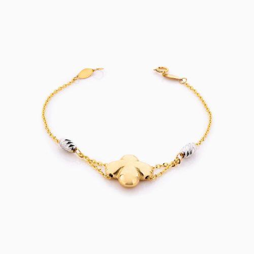 دستبند طلا 18 عیار زنانه زنجیری مدل گل ونکلیف کد BL0352