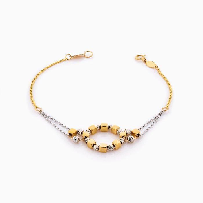 دستبند طلا 18 عیار زنانه زنجیری مدل دایره گوی دار کد BL0354