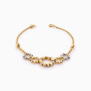 دستبند طلا 18 عیار زنانه زنجیری مدل گوی و حلقه کد BL0358