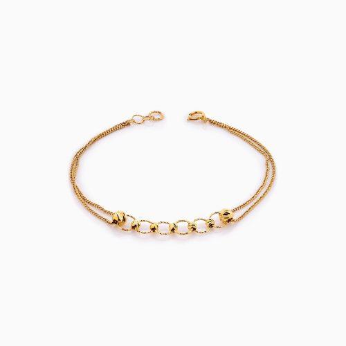 دستبند طلا 18 عیار زنانه زنجیری مدل گوی وحلقه کد BL0375