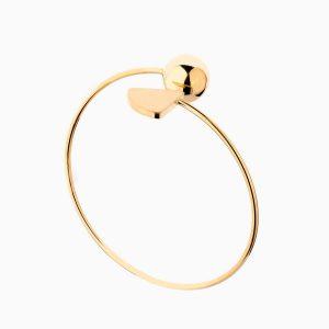 دستبند طلا 18 عیار زنانه بنگل مدل گوی و برگ کد BL0385