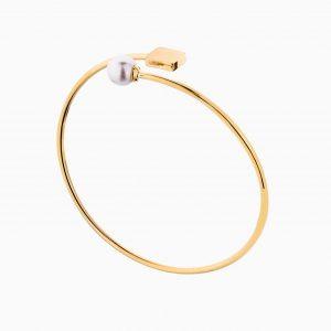 دستبند طلا 18 عیار زنانه بنگل با سنگ مروارید مدل مکعب و مروارید کد BL0388
