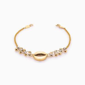 دستبند طلا 18 عیار زنانه زنجیری طرح چشم کد BL0393