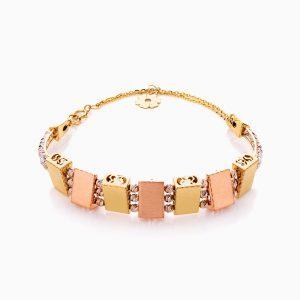 دستبند طلا 18 عیار زنانه النگویی مدل گوی و پلاک طرح دار کد BL0403