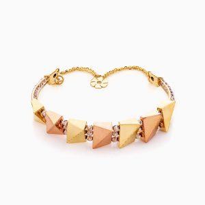دستبند طلا 18 عیار زنانه النگویی مدل گوی و پلاک طرح دار کد BL0404