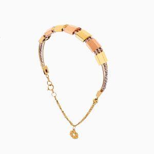 دستبند طلا 18 عیار زنانه النگویی مدل گوی و پلاک طرح دار کد BL0405