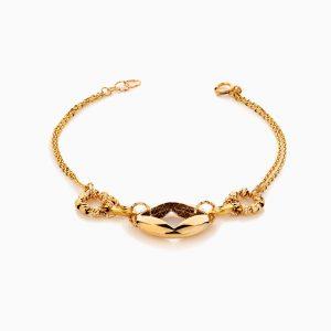 دستبند طلا 18 عیار زنانه زنجیری مدل گوی و پلاک طرح دار کد BL0406