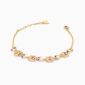 دستبند طلا 18 عیار زنانه زنجیری مدل گوی و پلاک طرح دار کد BL0411