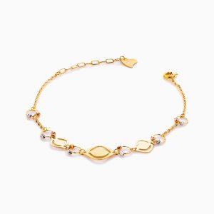 دستبند طلا 18 عیار زنانه زنجیری مدل گوی و پلاک طرح دار کد BL0412