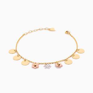 دستبند طلا 18 عیار زنانه زنجیری مدل پولک و گل کد BL0414