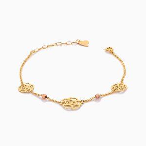 دستبند طلا 18 عیار زنانه زنجیری مدل گل کد BL0415