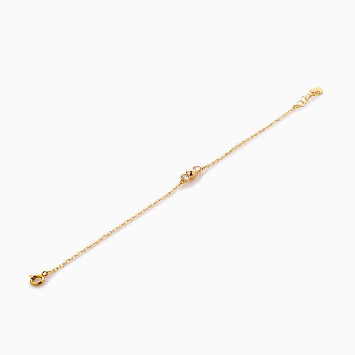 دستبند طلا 18 عیار زنانه زنجیری با سنگ اتمی مدل گوی و نگین کد BL0417