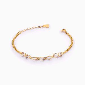 دستبند طلا 18 عیار زنانه زنجیری مدل گوی و حلقه کد BL0419