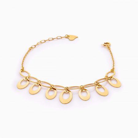 دستبند طلا 18 عیار زنانه زنجیری مدل پولک طرح دار کد BL0420