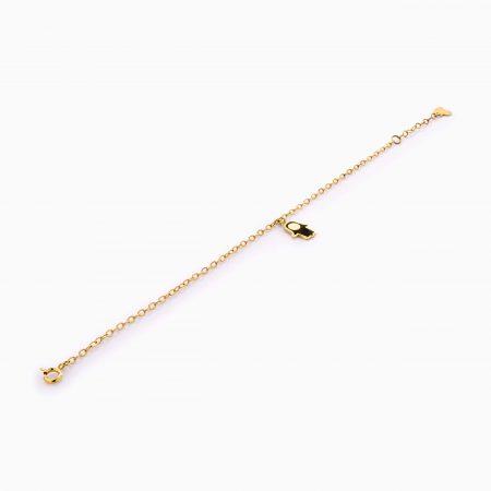 دستبند طلا 18 عیار زنانه زنجیری مدل دست همسا کد BL0422