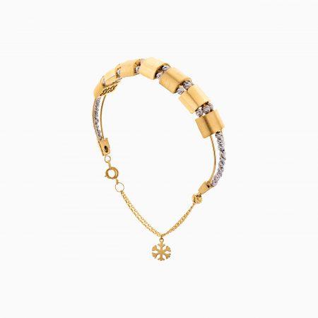 دستبند طلا 18 عیار زنانه النگویی مدل گوی و پلاک طرح دار کد BL0424