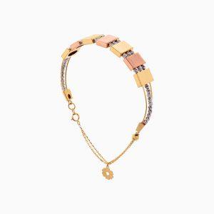 دستبند طلا 18 عیار زنانه النگویی مدل گوی و پلاک طرح دار کد BL0425