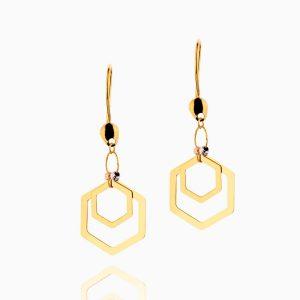 گوشواره طلا 18 عیار زنانه مدل شش ضلعی کد ER0171