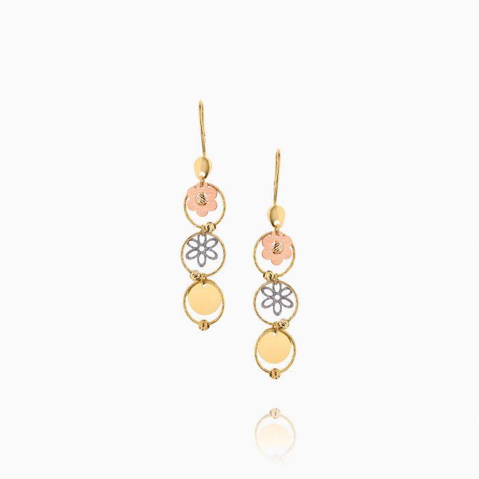 گوشواره طلا 18 عیار زنانه مدل حلقه و گل کد ER0174