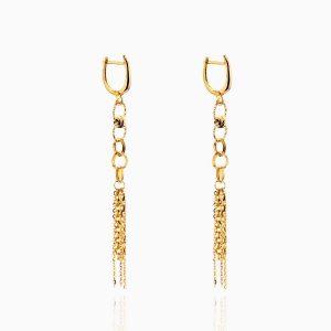 گوشواره طلا 18 عیار زنانه مدل آویز حلقه و زنجیر کد ER0184