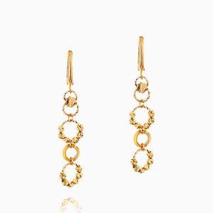 گوشواره طلا 18 عیار زنانه مدل آویز گوی و حلقه کد ER0187