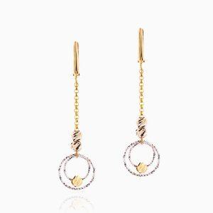 گوشواره طلا 18 عیار زنانه زنجیری مدل گوی و حلقه کد ER0192