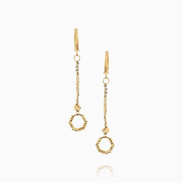 گوشواره طلا 18 عیار زنانه زنجیری مدل گوی وحلقه کد ER0200