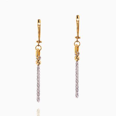 گوشواره طلا 18 عیار زنانه مدل حلقه و زنجیر کد ER0208