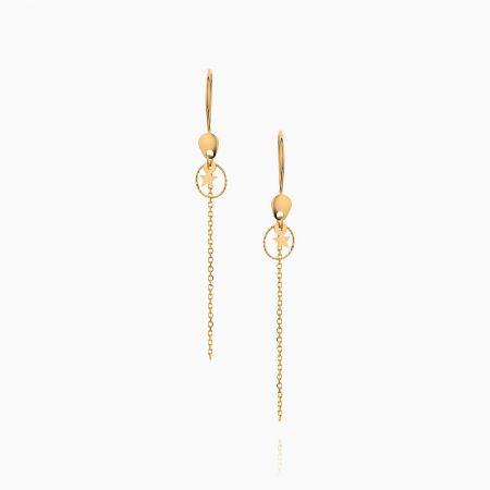 گوشواره طلا 18 عیار زنانه فانتزی مدل ستاره با آویز کد ER0229