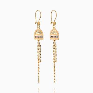 گوشواره طلا 18 عیار زنانه زنجیری مدل اسلیمی کد ER0231
