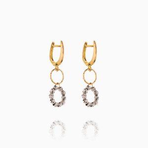 گوشواره طلا 18 عیار زنانه مدل حلقه و گوی کد ER0237