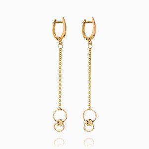 گوشواره طلا 18 عیار زنانه زنجیری مدل حلقه و گوی کد ER0240