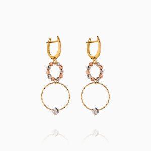 گوشواره طلا 18 عیار زنانه مدل حلقه و گوی کد ER0243