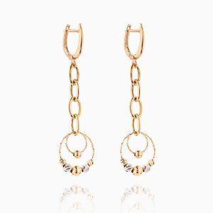 گوشواره طلا 18 عیار زنانه زنجیری مدل حلقه و گوی کد ER0244