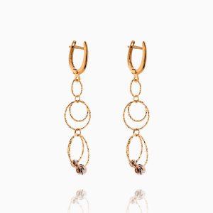 گوشواره طلا 18 عیار زنانه مدل حلقه و گوی کد ER0253