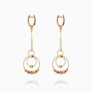 گوشواره طلا 18 عیار زنانه زنجیری مدل حلقه و گوی کد ER0256