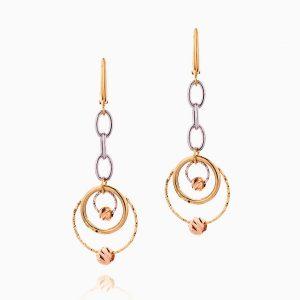 گوشواره طلا 18 عیار زنانه مدل حلقه و گوی کد ER0260