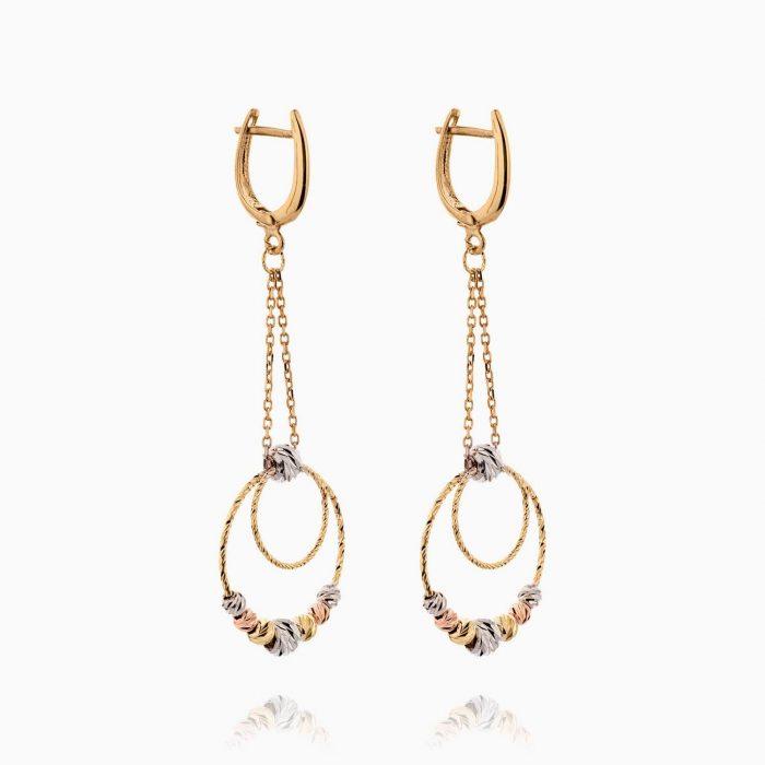 گوشواره طلا 18 عیار زنانه زنجیری مدل حلقه و گوی کد ER0264