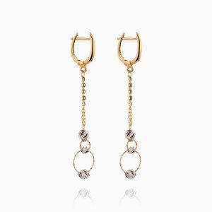 گوشواره طلا 18 عیار زنانه زنجیری مدل گوی و حلقه کد ER0265