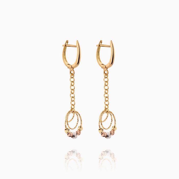 گوشواره طلا 18 عیار زنانه زنجیری مدل حلقه و گوی کد ER0268