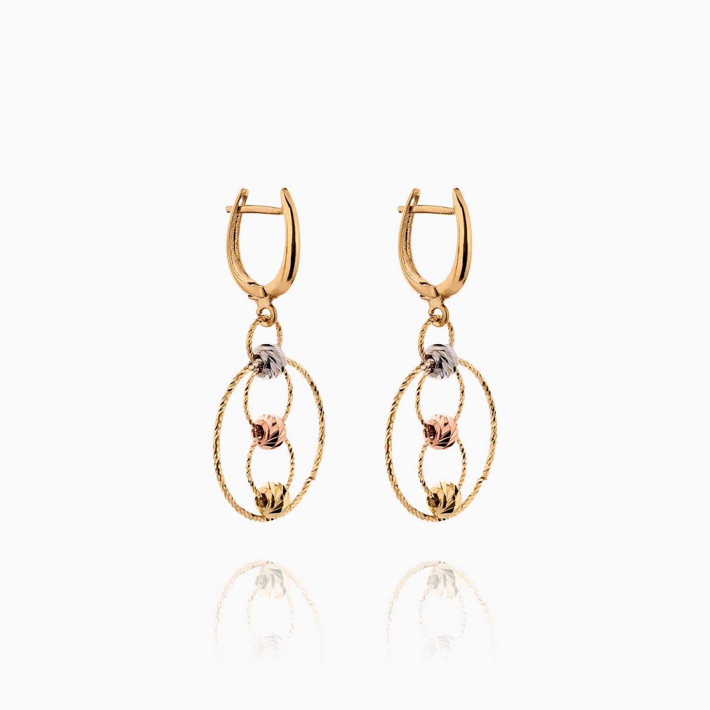گوشواره طلا 18 عیار زنانه مدل حلقه و گوی کد ER0269