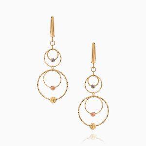 گوشواره طلا 18 عیار زنانه مدل حلقه و گوی کد ER0271