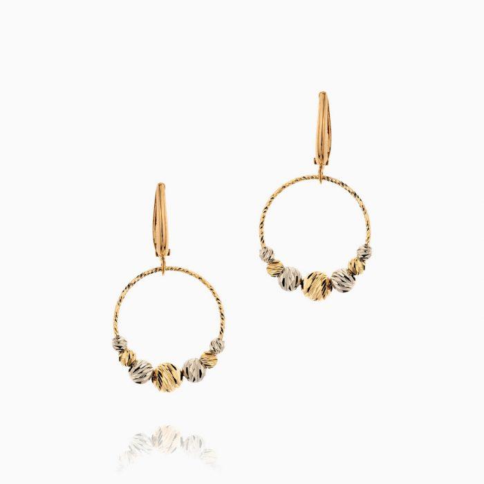 گوشواره طلا 18 عیار زنانه مدل حلقه و گوی کد ER0276